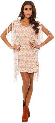RVCA The Orri Geo Art Fringe Tunic Dress in Tan