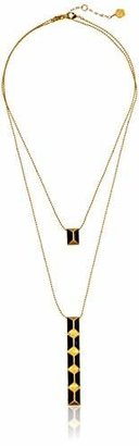 "Trina Turk Cubist House"" Gold Pyramid Stud Double with Enamel Pendant Necklace"