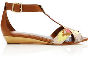 Loeffler Randall Navajo Sandal Cuoio in Multi Patent Leather