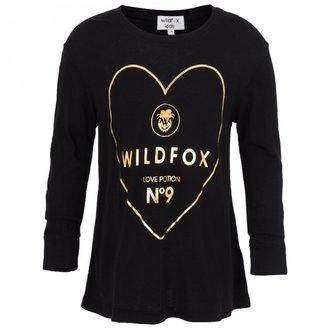 Wildfox Couture Black Gold Heart Tee