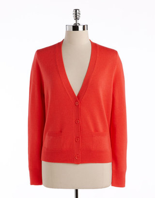 Lord & Taylor Petites Wool Long-Sleeved Cardigan
