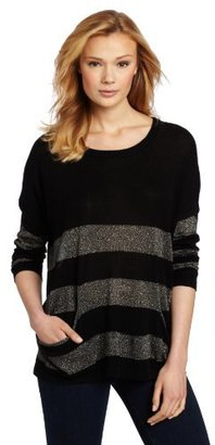 Karen Kane Women's Metallic Stripe Pocket Sweater