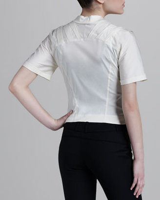 Donna Karan Short-Sleeve Zip Jacket