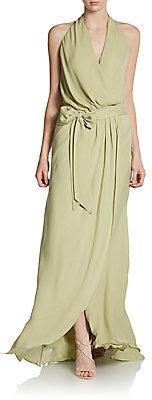 Haute Hippie Silk Halterneck Belted Gown
