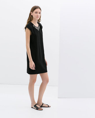 Zara Dress With Appliqué Collar