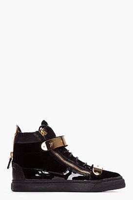Giuseppe Zanotti Black Velvet Gold-Bar Sneakers