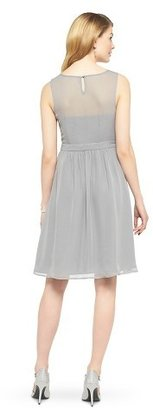 Tevolio Women's Chiffon Illusion Sleeveless Dress