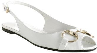 Gucci white patent 'Sunset' peep toe flats