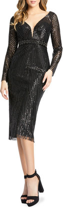 Mac Duggal Sequin Striped Long-Sleeve Sheath Dress