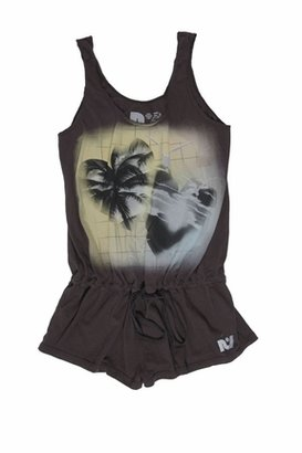 Rebel Yell Airbrushed Hearts Romper in Black
