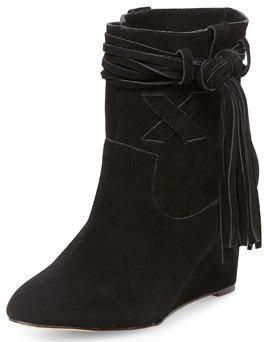 Dorothy Perkins Black tassle wedge boots