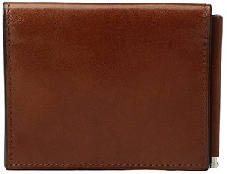 Bosca Old Leather Collection - Money Clip w/ Pocket (Amber) Wallet
