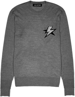 Neil Barrett Grey Lightning-intarsia Wool-blend Jumper