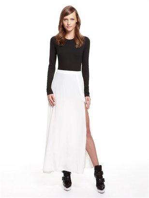 DKNY Runway Stretch Silk Scoopneck Maxi Dress With Luxe Jersey Bodysuit