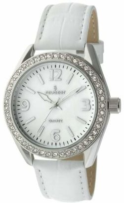 Peugeot Women's Boyfriend Large Face Case Dress Wrist Watch with Swarovski Crystal Bezel & Thick Leather Strap Band