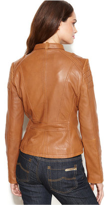 MICHAEL Michael Kors Leather Buckle-Collar Motorcycle Jacket