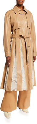 Jonathan Simkhai Kya Faux-Leather Trench Coat with Pointelle Pleats