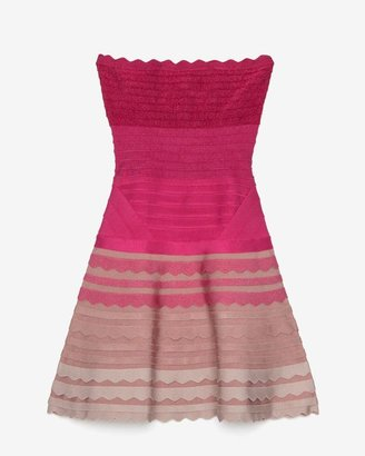 Herve Leger Strapless Scalloped Ombre Bandage Flare Dress