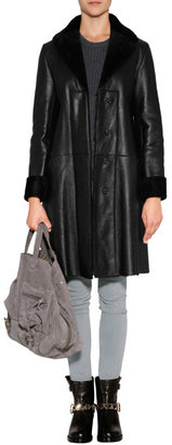 Jil Sander Navy Lambskin Coat in Black