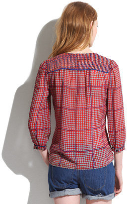 Madewell Silk Peasant Blouse in Retrogrid