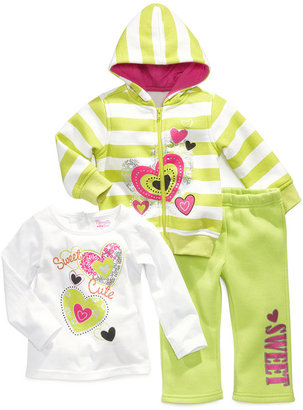 Nannette Baby Set, Baby Girls Sweet Heart 3-Piece Shirt, Hoodie and Pants