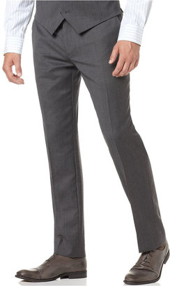 Alfani RED Pants, Grey Solid Slim Fit
