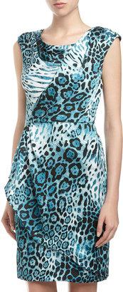 Chetta B Leopard-Print Faux-Wrap Dress, Aqua
