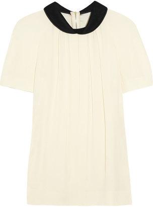 Marni Contrast-collar crepe blouse