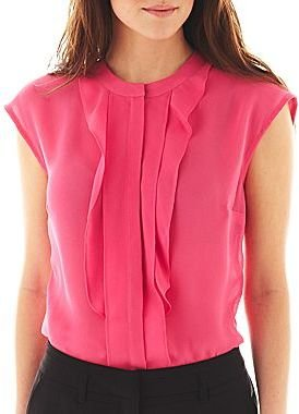 JCPenney Worthington Cap-Sleeve Ruffled Blouse