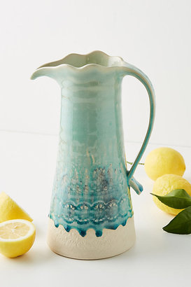 Anthropologie Old Havana Pitcher By in Blue Size 10