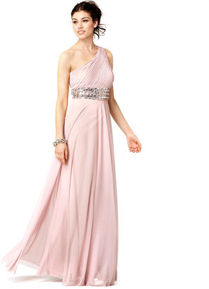 JS Collections Dress, Sleeveless One Shoulder Beaded Empire Waist Evening Gown