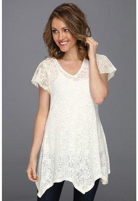 Roper Rose Floral Burnout Jersey Tunic (White) - Apparel