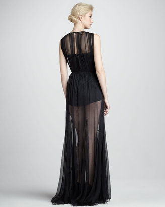 Alice + Olivia Francesca Gathered Overlay Gown with Bodysuit