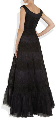 Valentino Lace and pleated silk-tulle gown