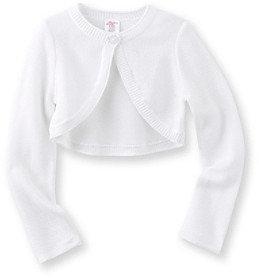 Little Miss Attitude Girls' 2T-6X White Long Sleeve Hi-Lo Hem Cardigan