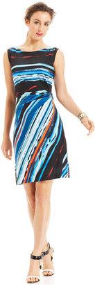 Tahari by ASL Sleeveless Printed Faux-Wrap Dress