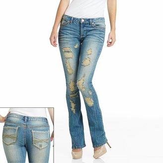 Mudd destructed skinny bootcut jeans - juniors