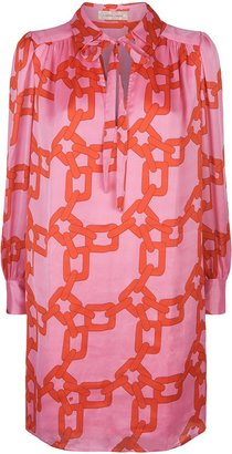 Traffic People Maisie Chain Print Shirt Dress In Red And Pink