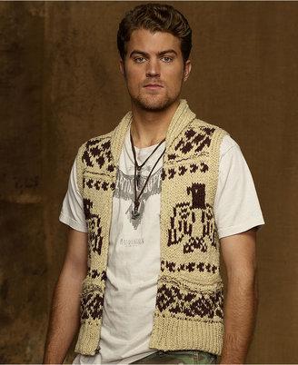 Denim & Supply Ralph Lauren Vest, Ladderback Full-Zip Shawl Sweater Vest