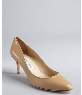 Jimmy Choo nude leather 'Vega' kitten heels