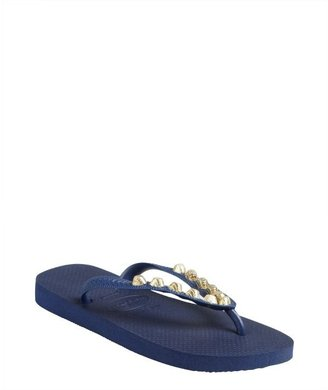 Dini's Los Angeles Los Angeles navy rubber studded thong flip-flops