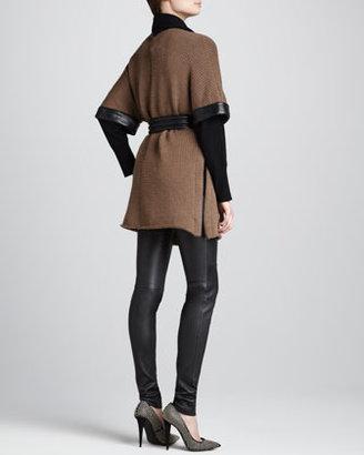 L'Agence Leather-Trim Wool Cardigan