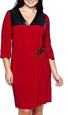 JCPenney Side-Buckle Wrap Dress - Plus