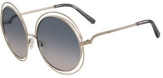 Chloe Carlina Round Wire Metal Sunglasses $376 thestylecure.com