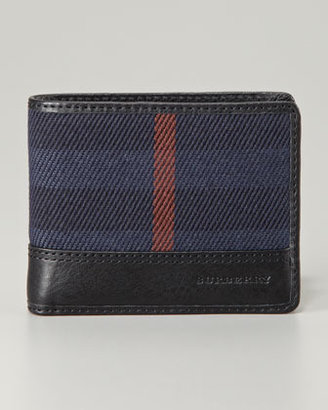Burberry Hipfold Check Wallet, Navy