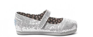 Toms Silver glitter tiny mary janes