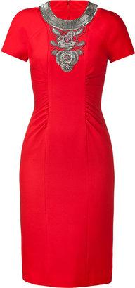 Matthew Williamson Red Wool Dress with Bead Detail