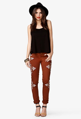Forever 21 Embroidered Tribal Print Skinny Jeans