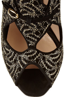 Nicholas Kirkwood Lace-covered cutout suede sandals