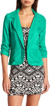 Charlotte Russe Twill Patch-Pocket Blazer